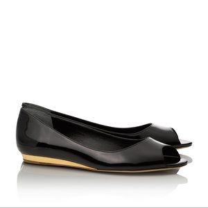 Tory Burch Cornelia Open Toe Patent Leather Flats